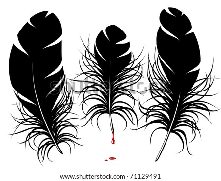 Vector feather silhouette - stock vector