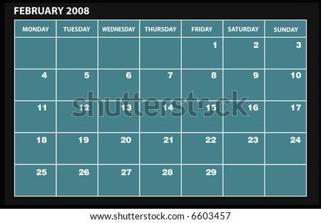 vector 2008 FEBRUARY calender - stock vector