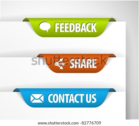 Vector Feedback, Share and Contact Labels / Stickers on the edge of the (web) page