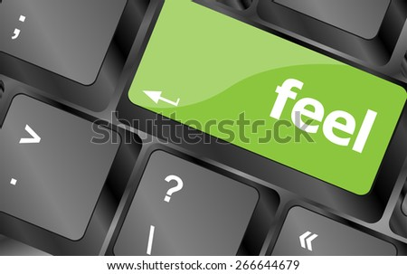 vector feel word on keyboard key, notebook computer button - stock vector