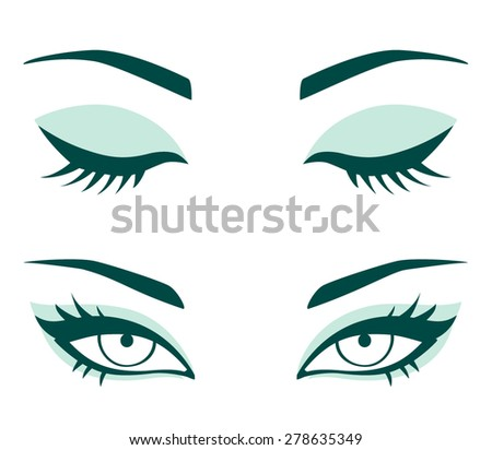 Vector female eyes. Closed and opened eyes with beautiful makeup - stock vector
