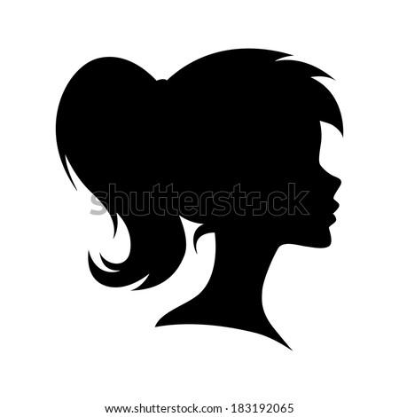 Vector female head silhouette - stock vector