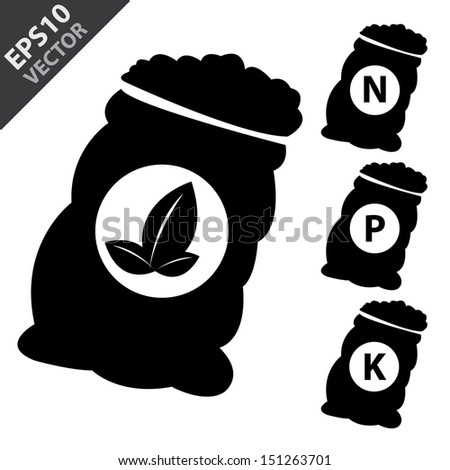 Vector : Fertilizer Icon Present By Black Nitrogen, Potassium, Phosphorus and Leaf Sack Isolated on White Background  - stock vector