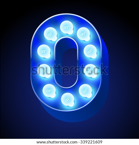 Vector festive alphabet with blue lamp. Number 0 - stock vector