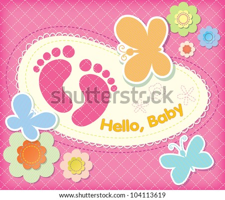 vector festive backdrop of flowers and butterflies. Stitches from the thread. welcome to girl. - stock vector