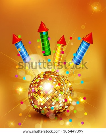 Vector festive background with glass disco ball and firecrackers - stock vector