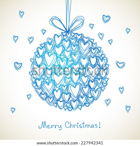Vector festive ball of doodle hearts. Christmas, Valentines Day, wedding greeting card. Hand drawn illustration in kids style for print, web - stock vector