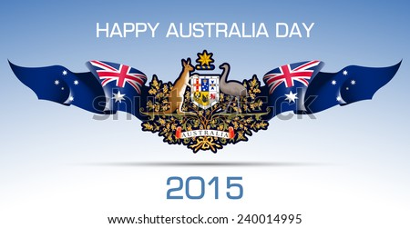 "vector festive banner with flags of The Commonwealth of Australia and an inscription ""Happy Australia Day. 2015"" - stock vector"