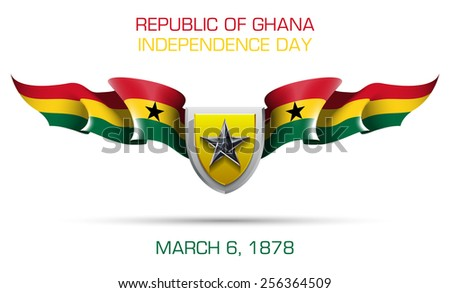 """vector festive banner with flags of The Republic of Ghana and an inscription """"Republic of Ghana, Independence Day March 6, 1878"""" - stock vector"""