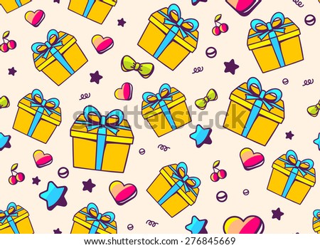 Vector festive bright pattern with yellow gift box and star, heart, cherry on light background. Hand drawn line art design for web, site, advertising, banner, poster, board and print.