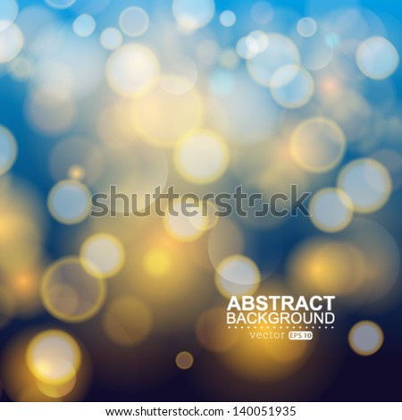 Vector festive Christmas poster. Elegant abstract background with bokeh defocused lights and stars. - stock vector