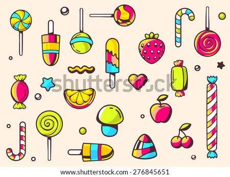 Vector festive colorful pattern with sweets on light background. Hand draw line art design for web, site, advertising, banner, poster, board and print.   - stock vector
