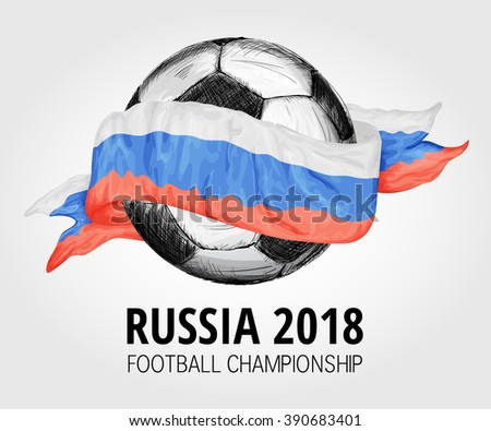 Vector festive design banner with flag of Russia, title Russia 2018 football championship and hand drawn soccer ball. World Cup football sport banner - stock vector