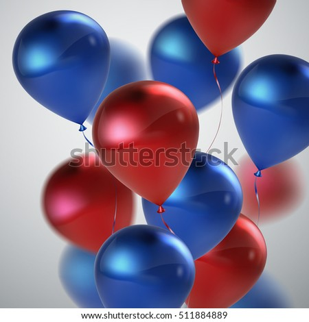 Vector festive illustration of flying realistic glossy balloons. Blue and red balloon bunch. Decoration element for holiday event invitation design