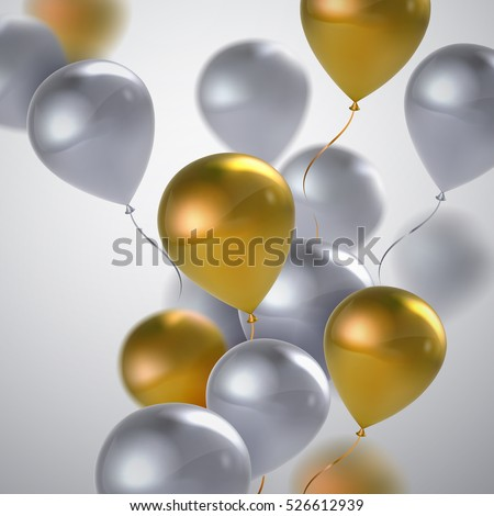 Vector festive illustration of flying realistic glossy balloons. White and golden balloon bunch. Applicable for banner, poster, flyer, cards. Award Ceremony Or Other Holiday Event Decoration Element