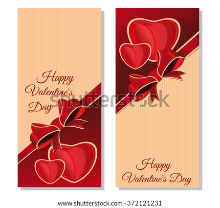 Vector festive retro background for Valentines Day. Retro banners with congratulatory inscription. Happy Valentine's Day. Vintage greeting cards with empty space for Valentine's Day. - stock vector