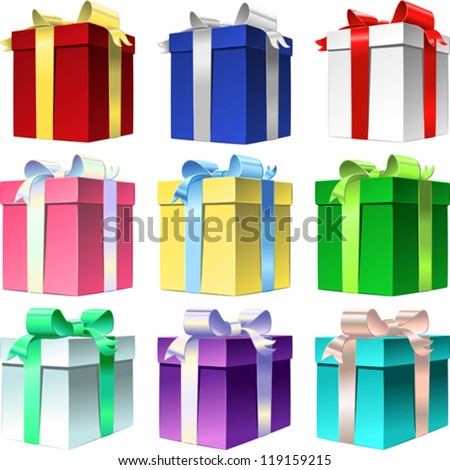 Vector festive set colorful gift box with shiny ribbon bow for the holidays, isolated on white - stock vector