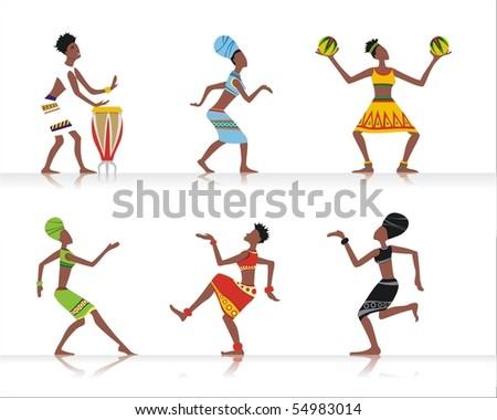 Vector figures of african dancers and musicians - stock vector
