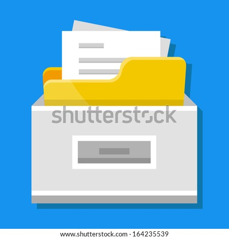 Vector File Cabinet with Documents - stock vector