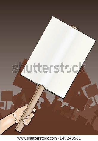 Vector file of a protester holding a sign/Protest sign/ Easy to edit vector file, easy to edit groups and layers, edit the size of sign remove background etc. Great useful file. - stock vector