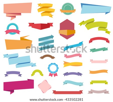 Vector file representing Labels Stickers Banners and Ribbons collection. - stock vector