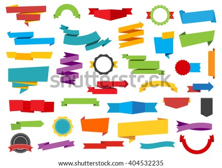 Vector file representing Labels Stickers Banners Tag and Ribbons collection. - stock vector