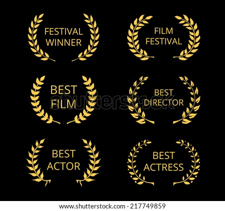 Vector Film Awards, gold award wreaths on black background - stock vector