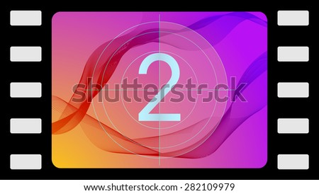 Vector film countdown on an abstract background. Frame 2 of 10. - stock vector