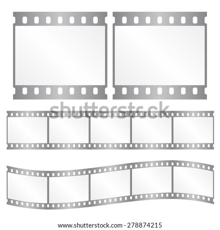 Vector film strips - waveform and straight strip. Insulated windows - you can create variable long straight filmstrip. Color silver/grey. Eps 10 vector file.  - stock vector