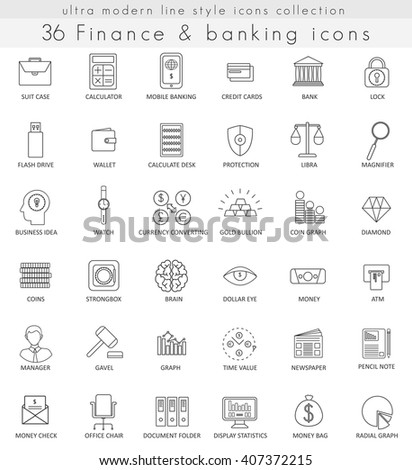 Vector Finance and banking ultra modern outline line icons for web and apps.  - stock vector