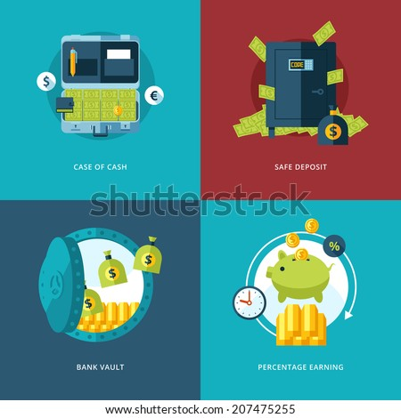 Vector finance and money icons set. Illustration for case of cash, safe deposit, bank vault and percentage earning. - stock vector