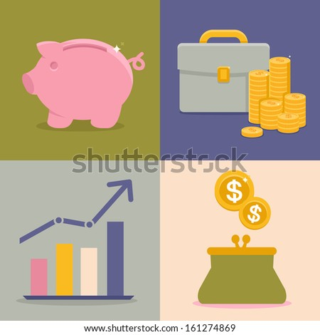 Vector finance and savings icons in flat style - piggy bank and coins - stock vector