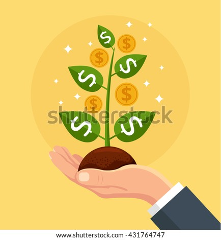 vector finance concept money tree hand stock vector royalty free rh shutterstock com Animated Money Clip Art Money Bag Clip Art