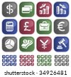 Vector: Finance sticky buttons - 4 color versions - stock photo