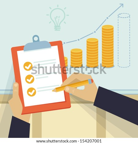 Vector financial business plan - hand holding report and golden coins in flat retro style - stock vector