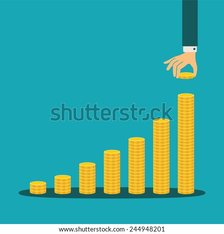 Vector financial growth concept with stacks of golden coins - stock vector