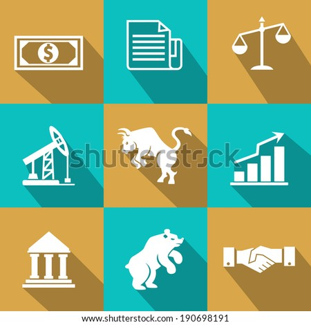 Vector financial icons in trendy flat style with dollar bills  certificates  scales  oil and mining futures  industry  bear  bull  bar graph  chart   bank  and business handshake on turquoise and gold - stock vector