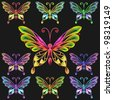 vector Fine collection of multicolored butterflies on a black background - stock vector