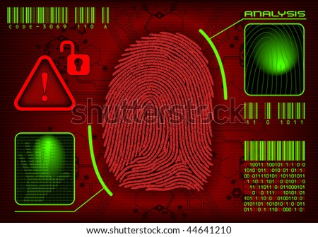 Vector Fingerprint. Concept of security system, advanced technology, violation and espionage. Vector image, you can remove or add information. All layers are named. - stock vector