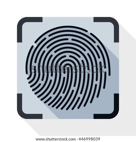Vector Fingerprint Scanning icon in flat style with long shadow on white background - stock vector