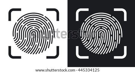 Vector Fingerprint Scanning icon. Two-tone version of Fingerprint Scanning simple icon on black and white background