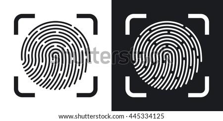 Vector Fingerprint Scanning icon. Two-tone version of Fingerprint Scanning simple icon on black and white background - stock vector