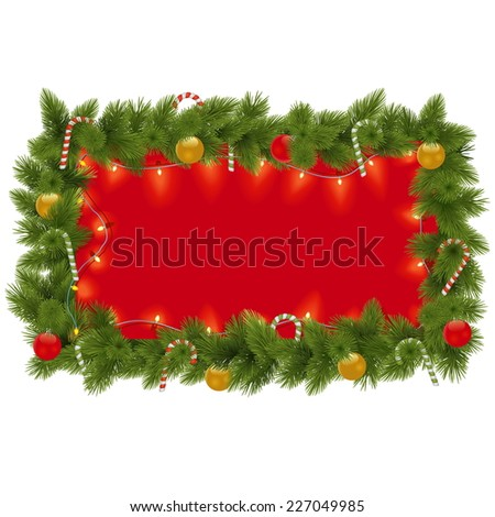 Vector Fir Frame with Garland - stock vector