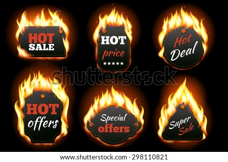 Vector fire labels set. Price and sale, deal and offer, special tag or badge, business promotion. Vector illustration - stock vector