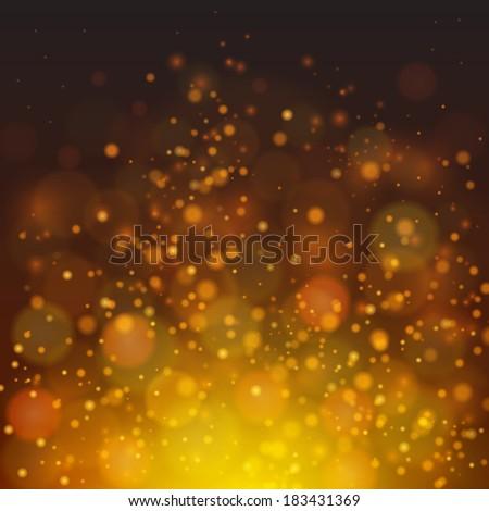 Vector fire-like bokeh abstraction background. Dark yellow palette defocused illustration - stock vector