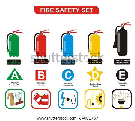 VECTOR - Fire Safety Set Different Types of Extinguishers (Water, Foam, Dry Powder, Halon, Carbon Dioxide - Symbols of  Ordinary Combustibles & Metals, Flammable Liquids & Gases, Electrical Appliances - stock vector