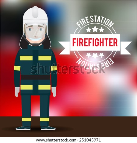 Vector firefighter character on blurred background. Men's profession - stock vector