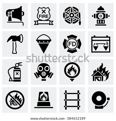 Vector Firefighter icon set