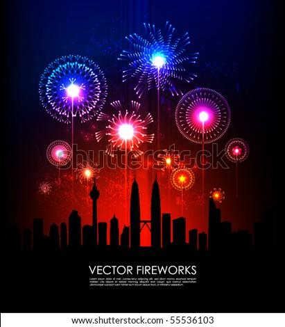 Vector Fireworks - stock vector