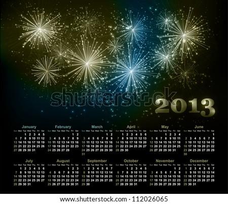 Vector fireworks background with calendar 2013 - stock vector